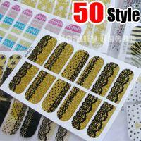 nuevas pegatinas de cristales al por mayor-50Style Nail Wraps Decal Sticker Nail Art Sticker Glitter Bling Foil Patch Wraps Encaje Leopard Design Polish Adhesive Appliques NUEVO