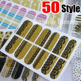 Wholesale Leopard Patches - 50Style Nail Wraps Decal Decals Crystal Nail Art Sticker Glitter Bling Foil Patch Wraps Lace Leopard Design Polish Adhesive Appliques NEW