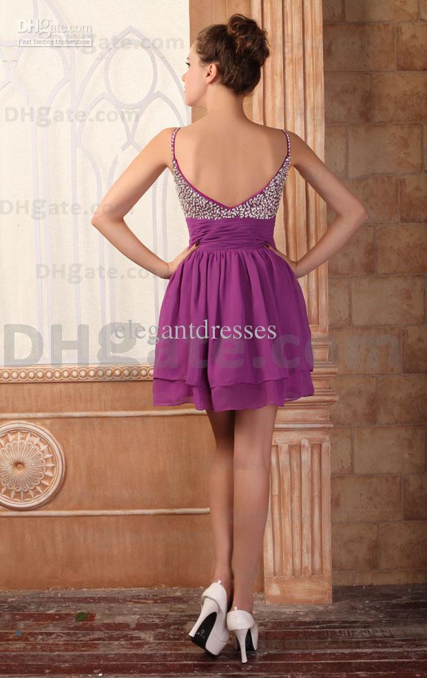 Novo mini vestido !! Espaguete Estilo Mini Frisado Vestido de Festa PT006