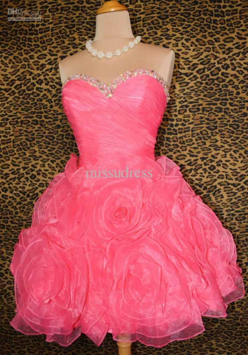 2013 New Arrival Pink Sweetheart Beading Pleat Organza Short Sweet 16 Homecoming Dress Party Dresses