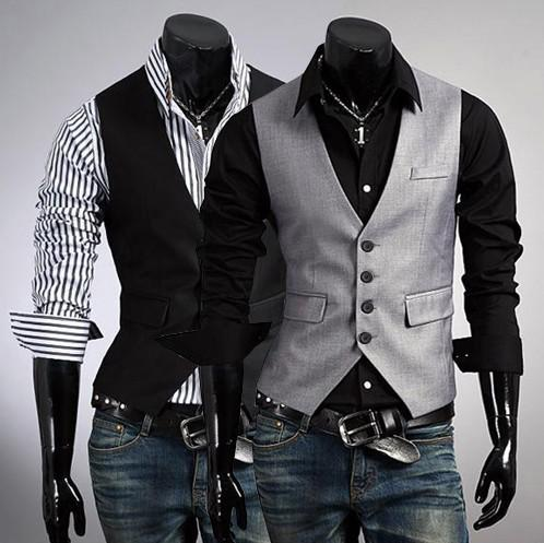 top popular new Fashion men's Vests Slim Vest Outwear casual vest suits vests gray black 2436 2019