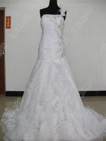 Wholesale Embroidery Dress Shop - No Risk Shopping NEW Organza With Embroidery Beaded One-shoulder Wedding dresses Bride dress Gowns