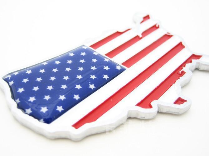 Autocollants drapeau américain en métal 3D emblèmes de voiture badges style de voiture
