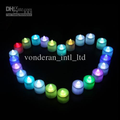 bougies LED romantique clignotement lent sept couleurs