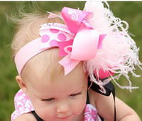 "Wholesale Over Top Hair Bows - 6-7"" Over the Top Large Boutique babys Hair Bows hair clips handmade holiday hairbows feather A404"