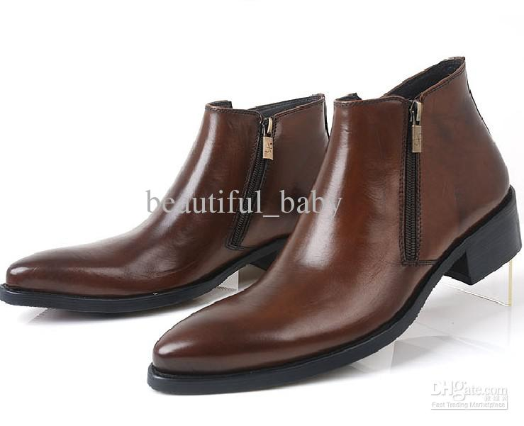 Autumn Winter High Top Shoes Men&39s Shoes Zipper Cowhide England