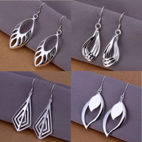 Wholesale Earrings Wholesale Mixed Order Silver - 20pairs lot Mixed Order 20 Styles Flat Tag 925 Sterling Silver Plated Drop Earrings #ER122