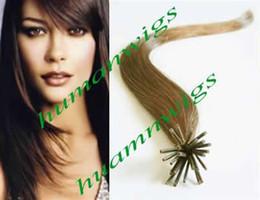 """auburn spitze haar Rabatt 20 """"100% indische Ich-Spitze Haarverlängerungen, Haarverlängerungen 0.5g, hellbraun # 8, Mischungsfarbe, heißer Verkauf"""