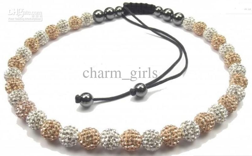 10mm Clay Disco CZ crystal Pave 33 Ball strand chain necklace hot brand jewelry cheap