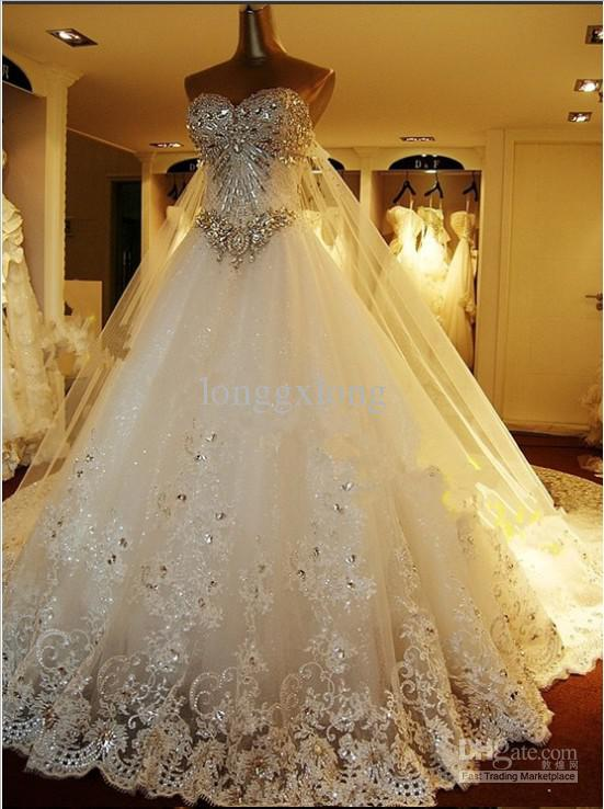 cheap hot sale dazzling beadings swetheart tulle lace actual images custom made wedding dresses one meter
