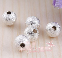 Wholesale Frosted Beads - Stardust Silver Plated Frosting Brass Ball Beads 5mm 200Pc lot Loose Beads Jewelry DIY fit Bracelets Necklaces