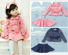 Barato Saias 6t-Vestidos de Bebé Set Dots Bows Coats + Saias Girls In Autumn Men's Clothing