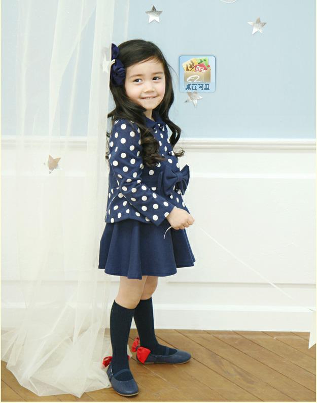 Baby Kleider Set Punkte Bögen Mäntel + Röcke Mädchen im Herbst Kinderkleidung