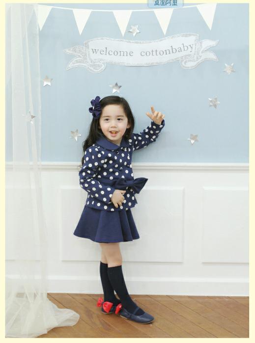 Babyjurken Set Dots Bows Jassen + Rokken Meisjes in de Herfst Kinderkleding