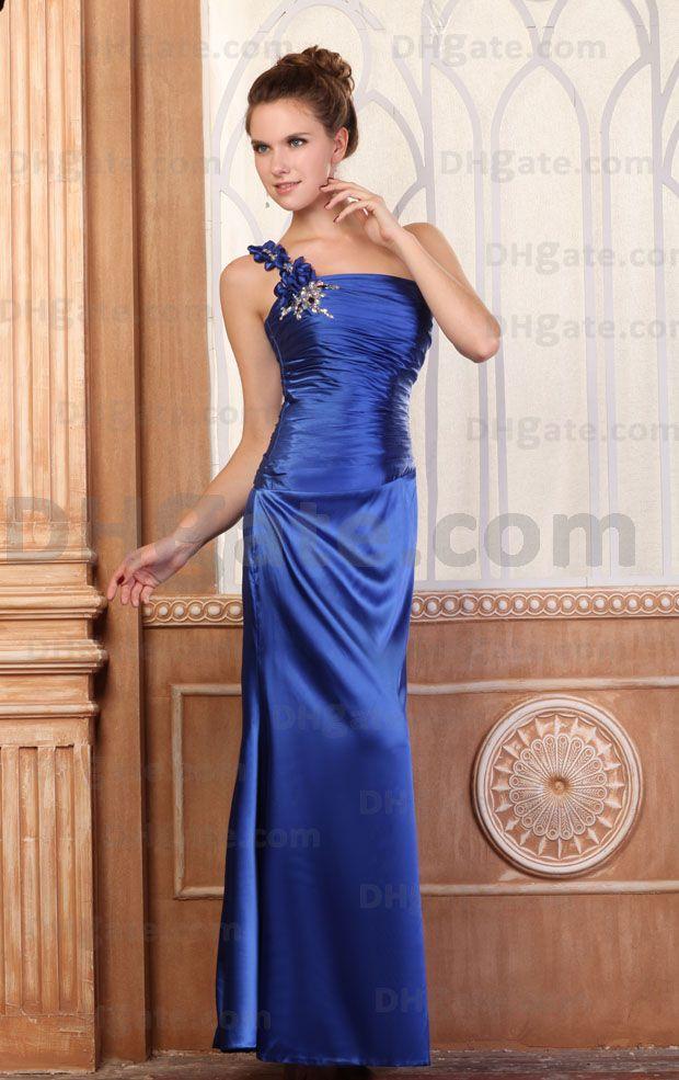 Gute Qualität !! Kunden gemacht Schulter Perlen in voller Länge Prom Abendkleid ED016