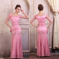 yüksek kaliteli gerdanlık elbiseleri toptan satış-Yüksek kalite !! Sıcak Pembe Dantel Streç Saten Yarım Kollu Abiye ED018
