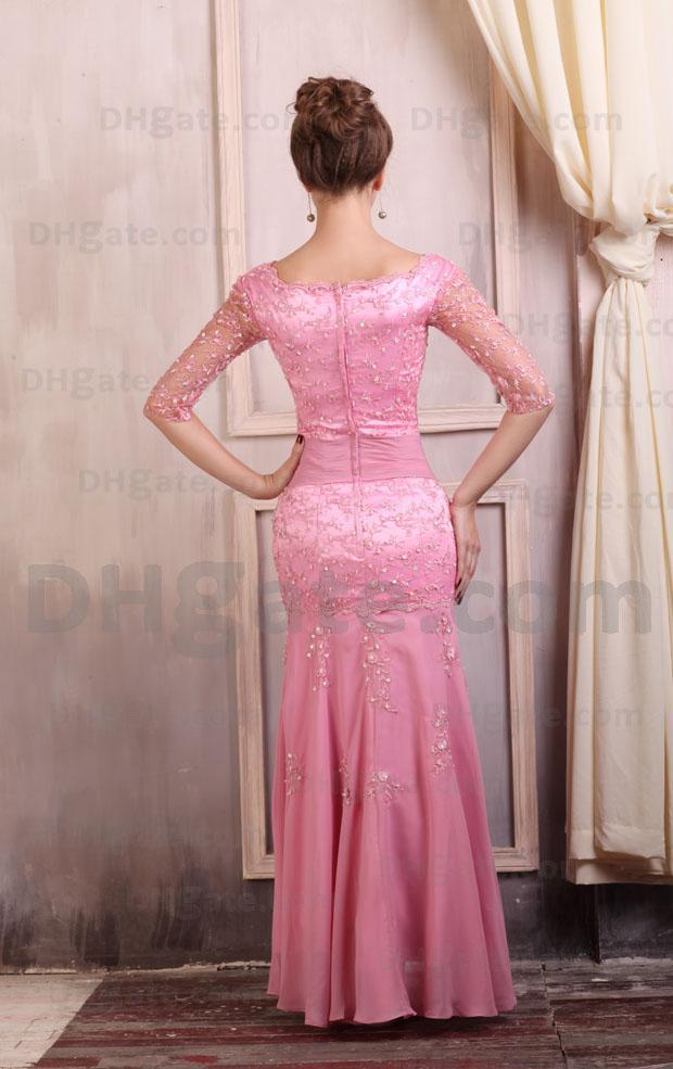 Hög kvalitet !! Varm rosa spets stretch satin halv ärm kväll klänning ed018