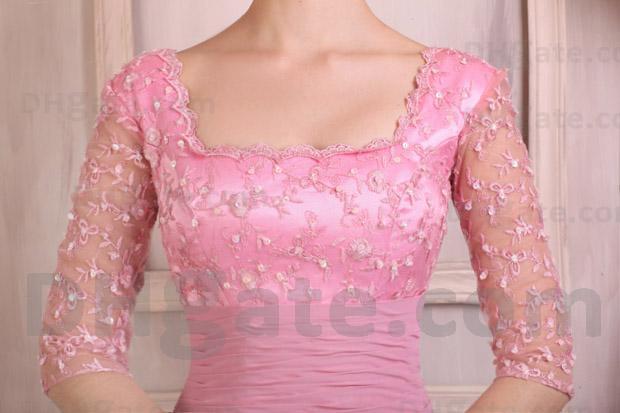 Alta qualidade !! Vestido de noite ED018 da luva do cetim do estiramento do laço do rosa quente meio