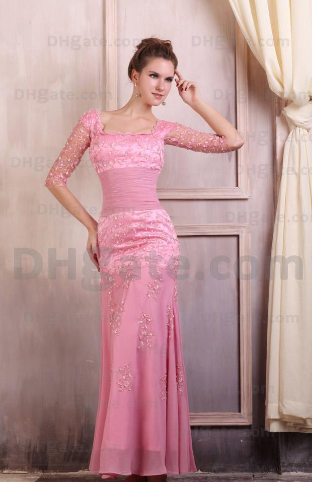 Alta calidad !! Vestido de noche de media manga con satén elástico de encaje rosa intenso ED018