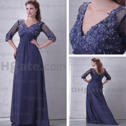 Mãe dos vestidos de noiva com decote em V 3/4 mangas a linha até o chão Chiffon Prom Real Imagem real em Promoção