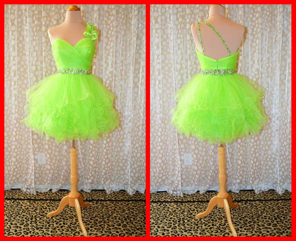 2017 Lime Green Homecoming Dresses One Shoulder Ball Gown Short Bows ...