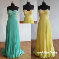 Wholesale Crushed Chiffon Dresses - Bright yellow Mint sweetheart beads appliques details crushed chiffon Bridesmaid Dresses bride gown