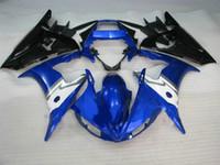 kits de carenagem r6 venda por atacado-Carroçaria preta azul para YZF R6 2003 2004 2005 YZF-R6 03 04 05 YZFR6 600 03-05 kit de carenagem