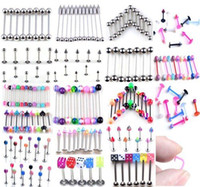Wholesale Cheap Body Jewelry Shipping - Fashion Cheap Brand New Body Piercing Jewelry Navel Belly Labret Lip Bar Rings Mixed Body Jewelry Free Shipping