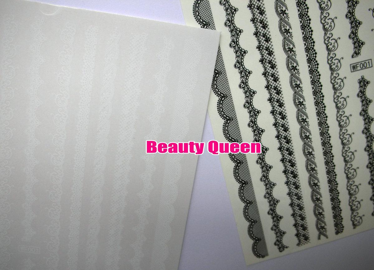 18 stücke Schwarz Weiß Spitze Nail art Wasser Decals Transfer Transfers AUFKLEBER Nail art Wrap Wraps Sexy Streifen Tattoo FÜR NATÜRLICHE / FALSCHE NÄGEL Tipps