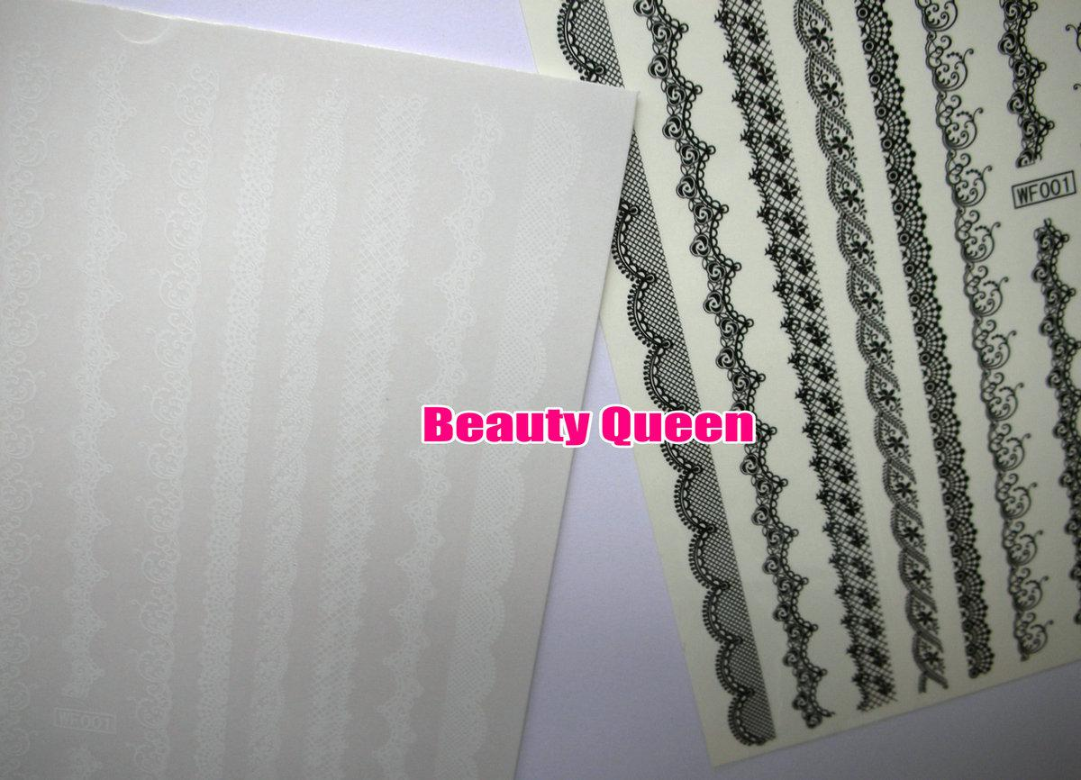 Black & White Lace Nail Art Water Decals Transfer Transfers DECAL Nail Art Wrap Wraps Sexy Strip Tattoo FOR NATURAL / FALSE NAILS Tips