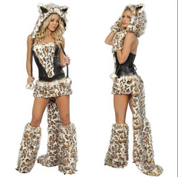 Wholesale Sexy Animal Costume Furry - Sexy Furry Leopard Halloween Costumes Animals Cat Wolf Leopard Nightclub DS Clothing Gift 2pcs lot