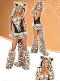 Sexy Furry Leopard Print Furry Costume Halloween Cat Wolf Leopard Nightclub DS Clothing best price from costume halloween wolf leopard manufacturers