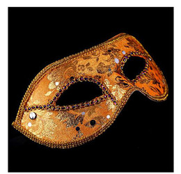 Wholesale Venice Free - 60PCS Halloween masquerade party mask Venice half face mask flat head lace bright cloth masks Free shipping Send DHL