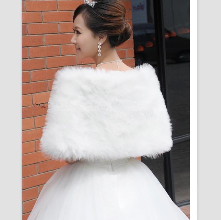 Gratis frakt i lager Vit Faux Fur Bröllop Bröllop Vinter Wrap Shawl Scarf Cold Weather Coat