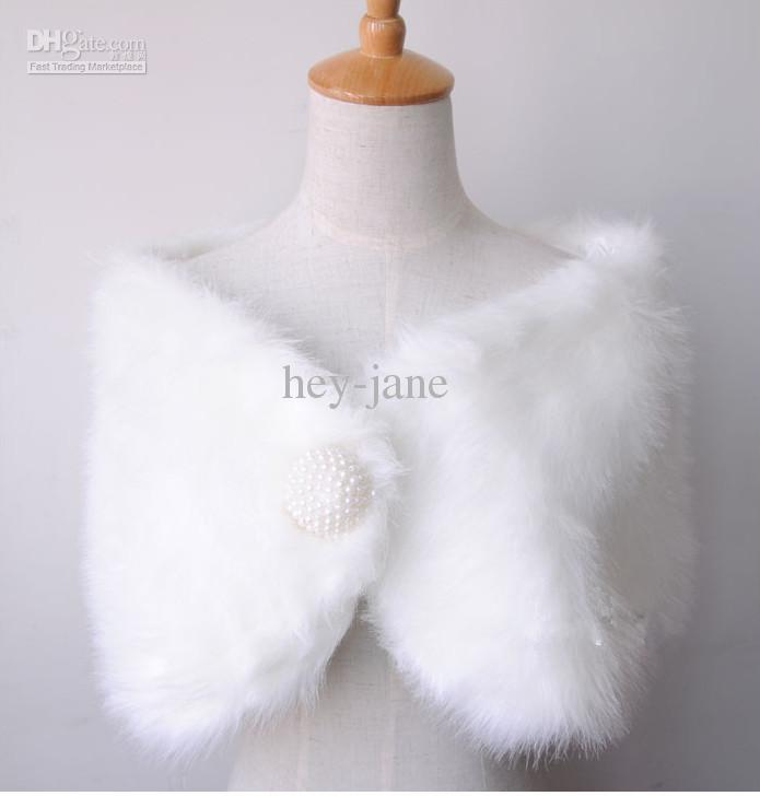 2020 Free shipping Winter Warm White faux fur wedding bridal Bridal Shawl Wrap Shawl Bolero Tippet