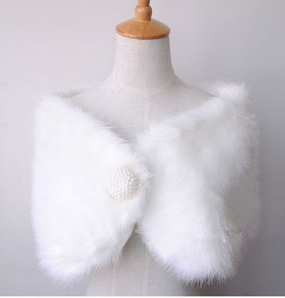 2018 Free shipping Winter Warm White faux fur wedding bridal Bridal Shawl Wrap Shawl Bolero Tippet