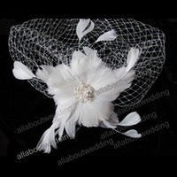 Wholesale Bridal Veil Hair Clip - 2016 Free Shipping White Feather flower Clip Wedding Bridal Hair Accessory Feather Accessory Feather Birdcage Veil