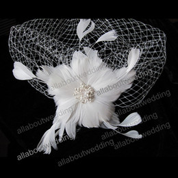 Wholesale Wedding Hair Clip Ivory - 2016 Free Shipping White Feather flower Clip Wedding Bridal Hair Accessory Feather Accessory Feather Birdcage Veil
