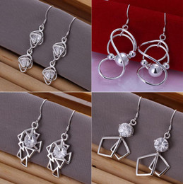 Wholesale Earrings Mixed Drop - Free Shipping Mixed Order 20 Styles Sterling Silver Multi Patterns Drop Earrings #ER129