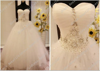 Wholesale Diamante Dresses - Sexy Sweetheart Crystal Diamante Ball Gown Sleeveless Tulle Wedding Dresses Pageant Dress lace up