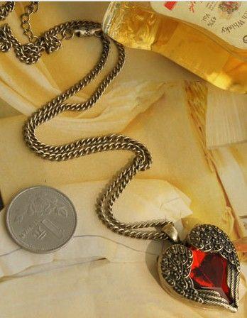 Vintage rode diamant perzik hartvleugels lange kettingen met robijn ketting trui ketting