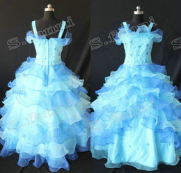 China spaghetti traps with beads beautiful ruffle flower girl dresses F063 supplier actual flower girl dress suppliers