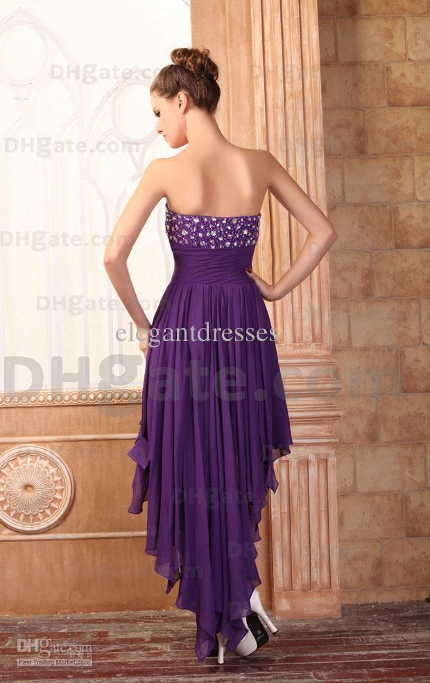 Meistverkauft!! Großhandel Chiffon Lila eleganter Schatz Hallo-Lo Abendkleid Liebsten Perlen Günstige Partyt Kleider robe de Soiree