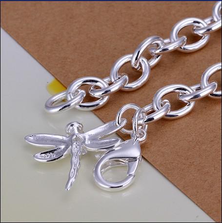 Alta qualidade 925 prata a libélula pulseira cadeia de presente de jóias frete grátis