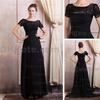 2015 Mother of the Bride Dress Black Court Train Chiffon Lace Appliques Evening Gowns Real Actual Image DHYZ 02