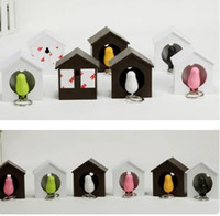 Wholesale bird keychains - Bird Nest Sparrow Key Ring Whistle Key Rings Keyholder Anti-lost Key Seat Bird House Key pendant