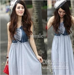 034880254c 1819 Spring Summer Denim Cotton Tube Top Maxi Dress Sexy Dress Denim Dress  From Samle