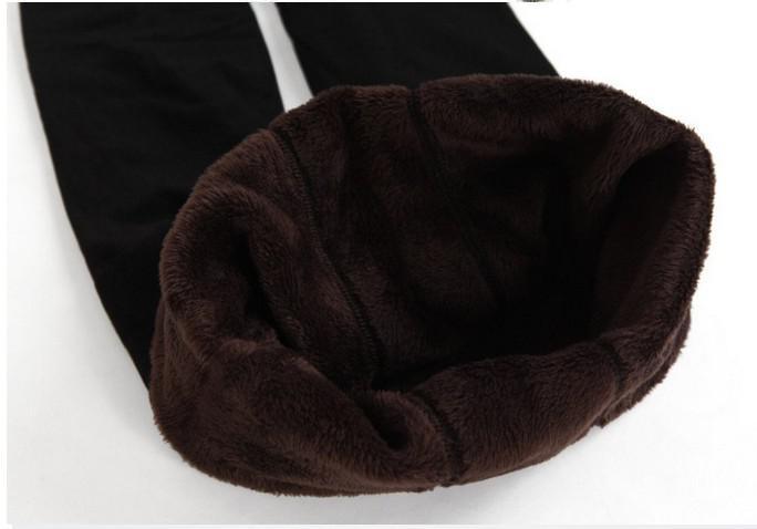 Outono / Inverno dupla camada engrossar leggings quentes das mulheres de veludo escovado frente e verso mais virilha