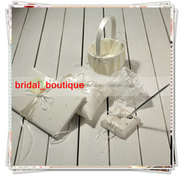 Wholesale Books Ivory - New Arrival Cheap Ivory Satin Ring Pillow Wedding Favor Guest Books & Feather Pen Container Sets 189