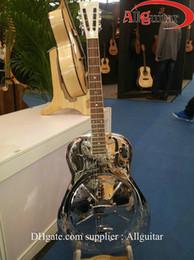 Metal Hollow Body Canada - Classical silve Metal resonator Guitar Semi Hollow body Carved designs electric China guitar
